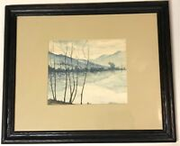 M. B. S. Fleischer New York Watercolor River Mountain Landscape