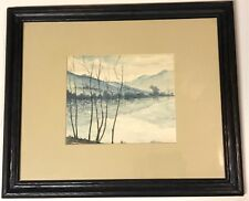 M. B. S. Fleischer New York Watercolor River Mountain Landscape