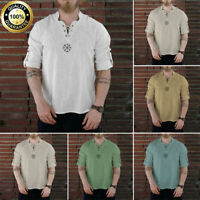 Men's Fashion Personality Casual Cotton Linen Solid Long sleeve T Shirt Tops Tee