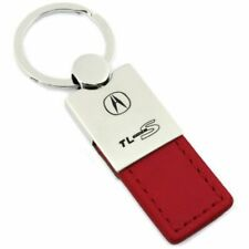 TL Type S Key Ring Red and Chrome Leather Rectangular Keychain