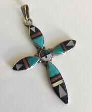 Zuni Handmade Sterling Silver Multi-stone Inlay Cross pendant- R.B.