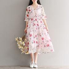 Escote en V vestido de mujer de gasa de expansión Suelto japonés Mori Chica Alta Cintura Delgada