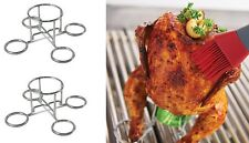 (2) Beer Can Chicken Roaster ~ Chrome ~ Grill Mark ~ New ~ Free Shipping