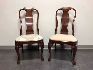 Solid Mahogany Queen Anne Dining Side Chairs - Pair 3