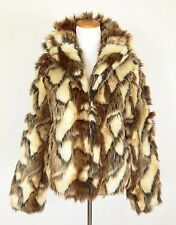 TopShop Womens 4 UK 8 EUR 36 Brown Faux Fur Cropped Jacket Coat Lined EUC