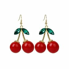 1 Pair Women Fashion Cherry Drop Dangles Rhinestone Ear Studs Earrings LW