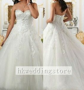 White/Ivory Plus Size Strapless Lace Up A-Line Bridal Gown Wedding Dress Custom