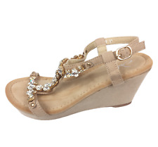 Womens Ladies Beige Faux Suede Wedge Heel Strappy Shoes Sandals Size UK 4 New