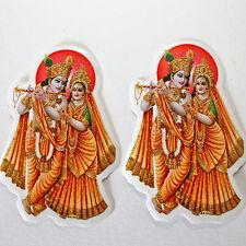 2x RADHA-KRISHNA Aufkleber Sticker, Indien Goa Hippie God-Stickers India 2