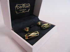Penrose of London Designer Black and Gold Plated Octagonal Oblong Cufflinks#CL80