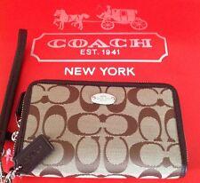 COACH Signature Double Zip Khaki/Mahogany Phone Wallet/Case/Wristlet NWT F53616
