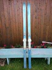 "VINTAGE Wooden 74"" Skis Has Metal Cable  Bindings and Terrific BLUE Finish"