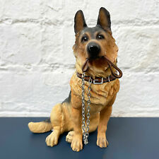More details for sitting german shepherd puppy dog lead walkies ornament figurine resin home gift