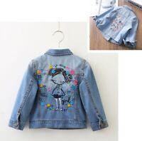 Fashion Denim Jacket Flower Embroidery For Children Girls Long Sleeve Lapel Coat