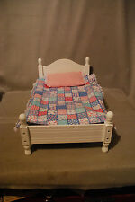 NIB White Victorian Doll bed  with Hand made cover  Fits 18 inch dolls