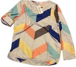 Womens 3//4 Sleeve Tshirt Striped Pattern Chevron Sleeve Casual Blouse Tops