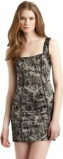 FREE PEOPLE Black Rose Lace Printed Stretch Satin Cami Slip Dress Silver XS