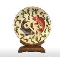 Chinese Porcelain Koi Bowl with Carved Wood Stand
