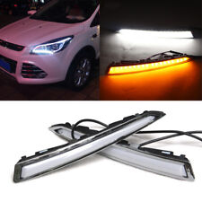 2x White Yellow LED Daytime Running Lights DRL Drive Lamp Kit for Kuga Escape