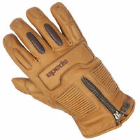Spada Rigger Waterproof Mens Leather Cruiser Motorcycle Motorbike Gloves - Sand
