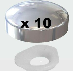 CHROME SILVER PLASTIC DOME SCREW COVER CAP 2 PIECE CLICK ON - PLASTIDOME CAPS