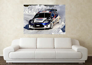 Large Ford Fiesta Rally WRC Fast Tuned 4 Wheel Wall Poster Art Picture Print