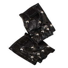 MENS WOMENS PUNK STUDDED LEATHER LOOK FINGERLESS GLOVES FANCY DRESS ACCESSORY