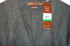 Perry Ellis Merino Wool Blend LS Cardigan Sweater  $89 Large L Charcoal Gray NWT
