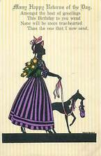 Lady & dog silhouette signed MANNI GROSZE early artist greetings postcard