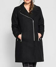 Sheego Black coat lapel collar off set front zip fastening sz 18 RRP £130 BNWT