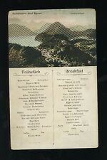 North German Lloyd Breakfast Menu / Postcard - Hohenschwangau Germany