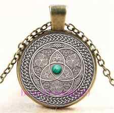 Vintage Celtic Photo Cabochon Glass Bronze Chain Pendant Necklace