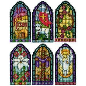 Design Works Plastic Canvas Ornament Kit EASTER WINDOWS Cross Stitch 5927