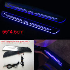 2pcs Blue LED Moving Light Car Front Door Scuff Plate Pedal Guards Protect Cover