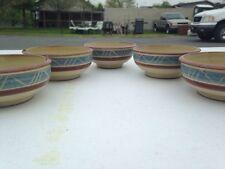 Set Of 5 Aztec Theme Clay Bowls