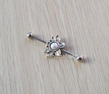 2pcs Fashion lotus Industrial Barbell piercing Ear Jewelry Double Piercing