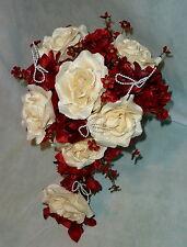Brautstrauss Hochzeitsstrauß Creme / Bordeaux Blumenstrauß Hochzeit