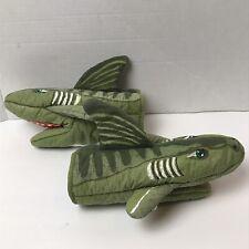 2 Vintage 1993 Boston Warehouse Green Shark Fish Oven Mitts Kitsch
