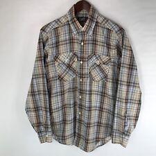 Vintage Levis Western Plaid Long Sleeve Thin Lightweight Shirt Size M