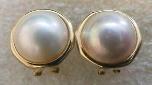 DESIGNER 14K Y GOLD MABE PEARL HANDMADE Vintage Post EARRINGS Estate @ MARKET
