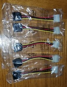 5X New IDE/Molex 4-Pin Male To Serial ATA SATA 15-Pin Female Power Adapter Cable
