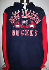 "Columbus ""BLUE JACKETS HOCKEY"" Pull Over Hoody Sewn Logos MED XL BLUE RED"