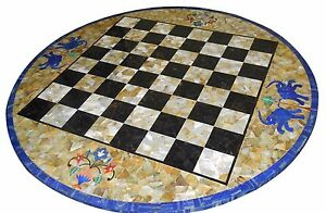 """18"""" Marble Chess Table Top Lapis Inlay Handmade Work Home Decor"""