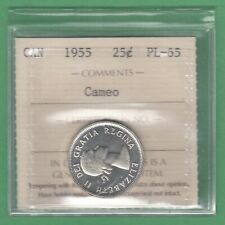 1955 Canadian 25 Cents Silver Coin - ICCS Graded PL-65 Cameo