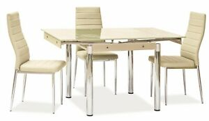 """""""SAVANNAH"""" Cream Glass Extendable Dining Kitchen Table & Chairs"""