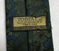 Tootal Tie Mens Necktie Vintage Retro 1950s 1960s GOLD QUALITY LABEL Green