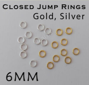 Gold Silver 6mm Soldered Close Jump Rings Split Ring Chain Round Circle 0.6cm DY