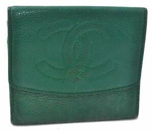 Authentic CHANEL Caviar Skin CC Logo Coin Case Green B4762