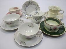 "Mixed Lot Vtg Mid Century ""Mad Hatter Tea Party"" Set (6) Cups Saucers Lot J4"