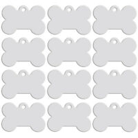 20pcs Silver Bone Shape Dog Tags Personalised Disc Disk Pet Name ID Collar Tag